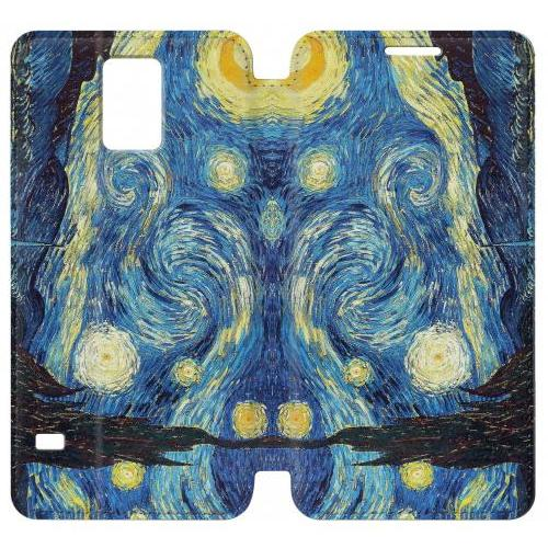 Flip PU Stand Van Gogh Starry Nights Phone Case for Samsung Galaxy Note 4