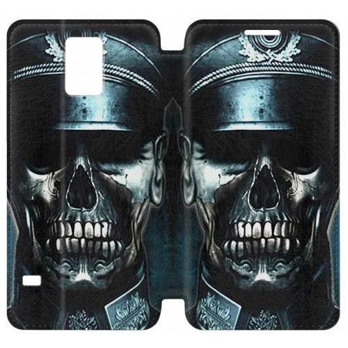 Flip PU Stand Skull Soldier Zombie Phone Case for Samsung Galaxy Note 4
