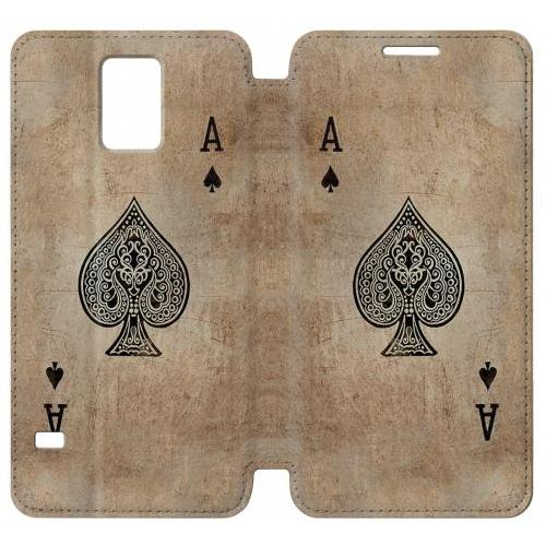 Flip PU Stand Vintage Spades Ace Card Phone Case for Samsung Galaxy Note 4