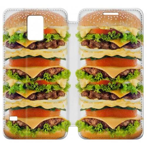 Flip PU Stand Hamburger Phone Case for Samsung Galaxy S5
