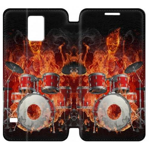 Flip PU Stand Skull Drum Fire Rock Phone Case for Samsung Galaxy S5