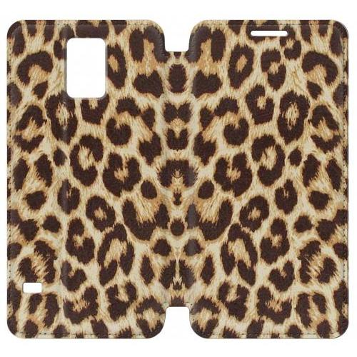 Flip PU Stand Leopard Pattern Graphic Printed Phone Case for Samsung Galaxy S5