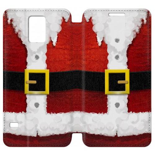 Flip PU Stand Christmas Santa Red Suit Phone Case for Samsung Galaxy S5