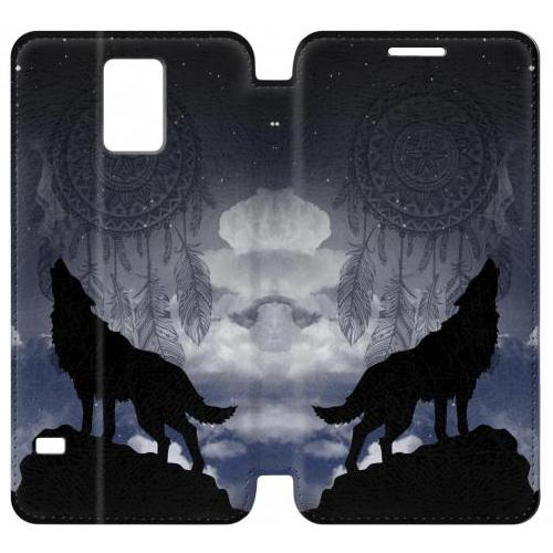Flip PU Stand Dream Catcher Wolf Howling Phone Case for Samsung Galaxy S5