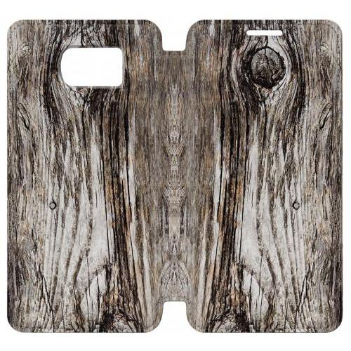 Flip PU Stand Old Wood Bark Printed Phone Case for Samsung Galaxy S7