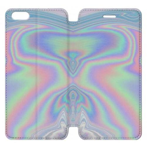 Flip PU Stand Pastel Holographic Photo Printed Phone Case for IPHONE 6 PLUS