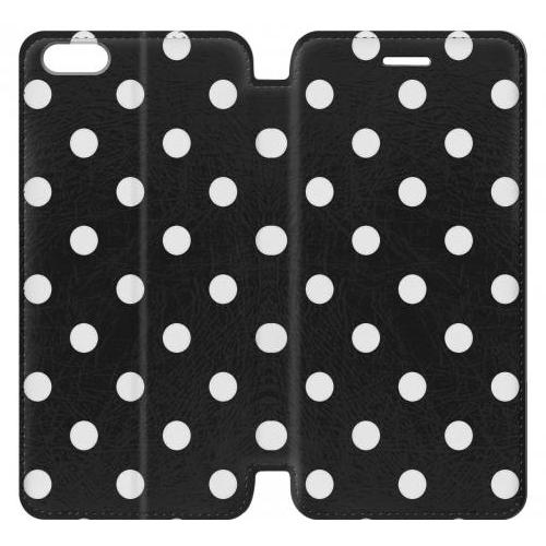Flip PU Stand Black Polka Dots Phone Case for IPHONE 5