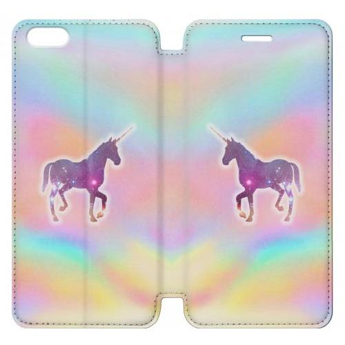 Flip PU Stand Rainbow Unicorn Phone Case for IPHONE 7