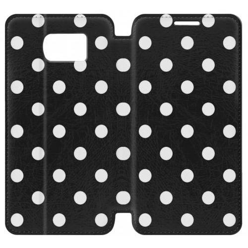 Flip PU Stand Black Polka Dots Phone Case for Samsung Galaxy S6 edge