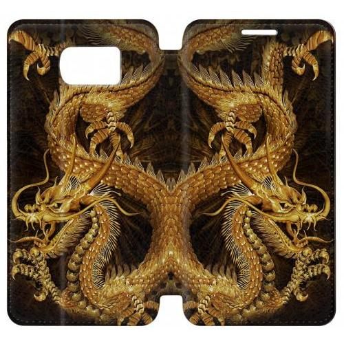 Flip PU Stand Chinese Gold Dragon Printed Phone Case for Samsung Galaxy S6 edge