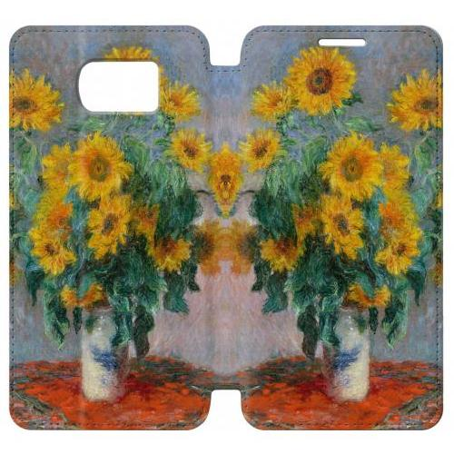 Flip PU Stand Claude Monet Bouquet of Sunflowers Phone Case for Samsung Galaxy S6 edge
