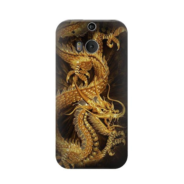 Chinese Gold Dragon Printed Phone Case Cover for HTC One M8